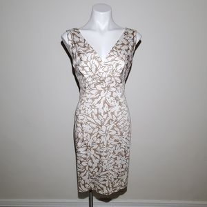 Anne Klein Brown & Cream Floral Print Dress